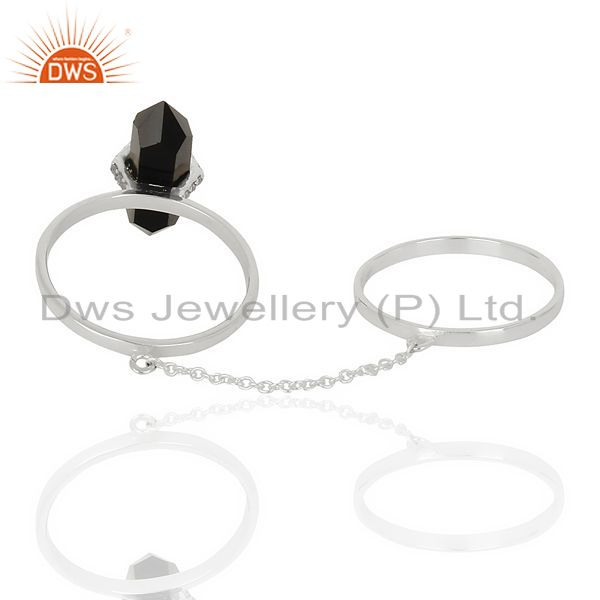 Top Selling Black Onyx And White Cz Studded Two Finger Ring 92.5 Sterling SilverJewelry