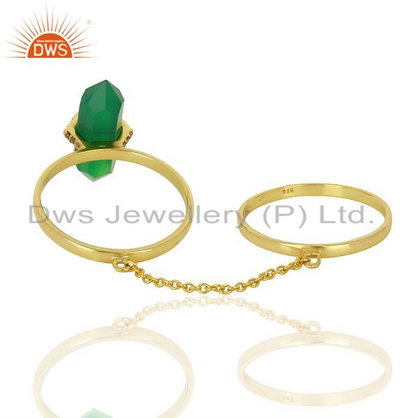 Suppliers Green Onyx And White Cz Studded Two Finger Ring Gold Plated Silver Jewelry