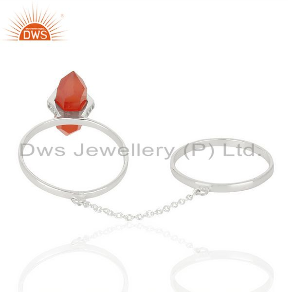 Top Selling Red Onyx And White Cz Studded Two Finger Ring 92.5 Sterling SilverJewelry