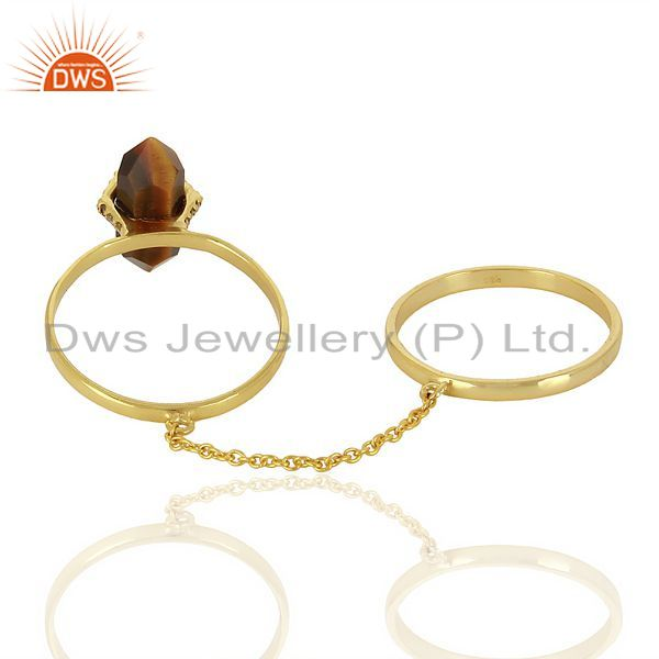 Suppliers Tigereye And White Cz Studded Two Finger Ring Gold Plated Silver Jewelry