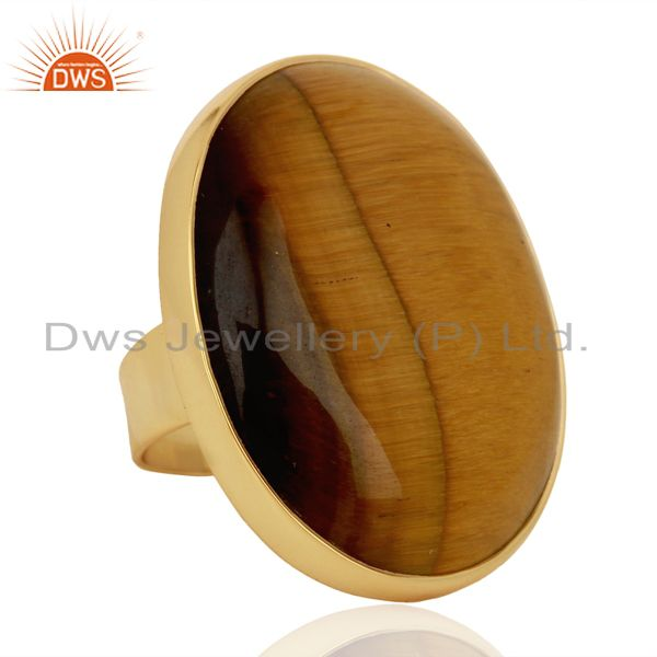 Suppliers Yellow Tigereye Mens Ring Fine Gold Plated Sterling Silver Wholesale Jewelry