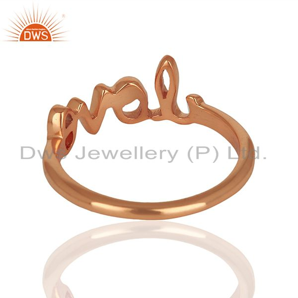Suppliers Initial Love Customized Rose Gold Plated 925 Silver Ring Manufacturer