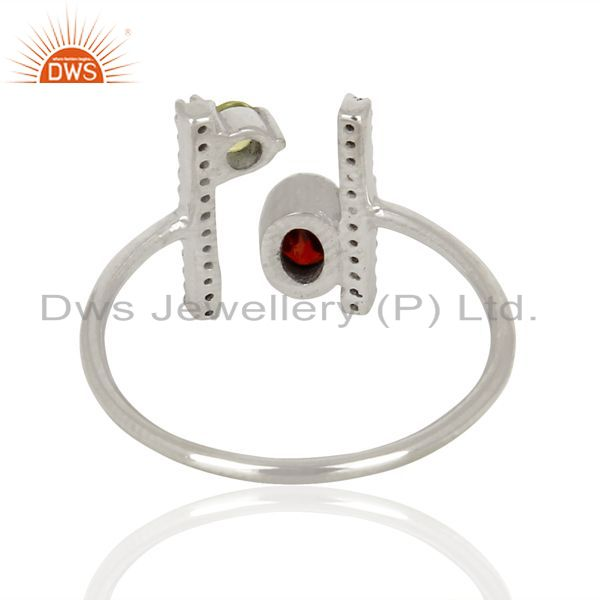 Suppliers Garnet Adjustable Parallel Bar White Rhodium Plated  High Finish Silver Ring