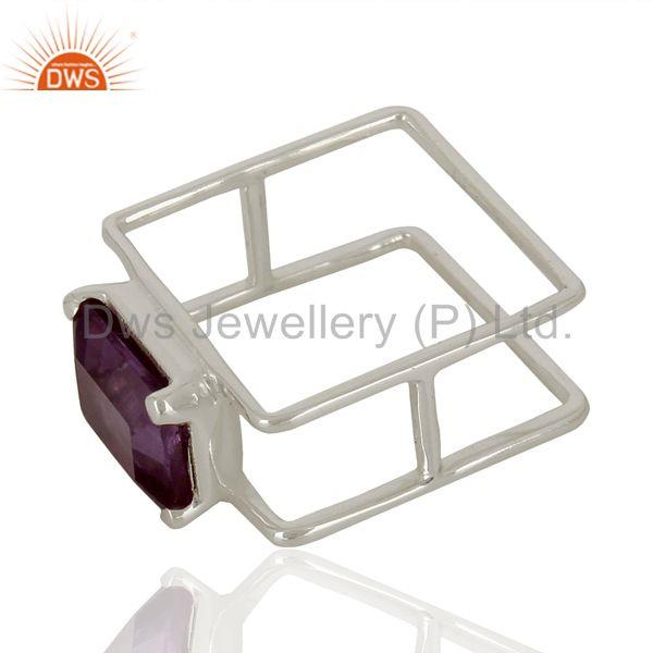 Suppliers Anethyst Square Wire And Shape Designer Artisan Wholesale Silver Ring