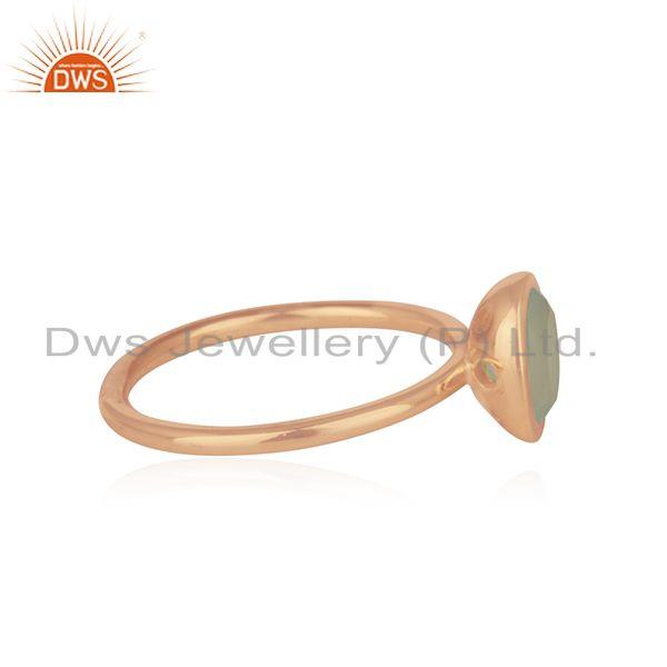 Suppliers Aqua Chalcedony Gemstone Rose Gold Plated 925 Silver Rings