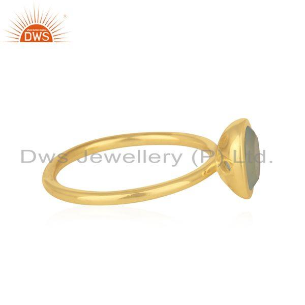Suppliers Gold Plated 925 Silver Aqua Chalcedony Gemstone Rings Manufacturer