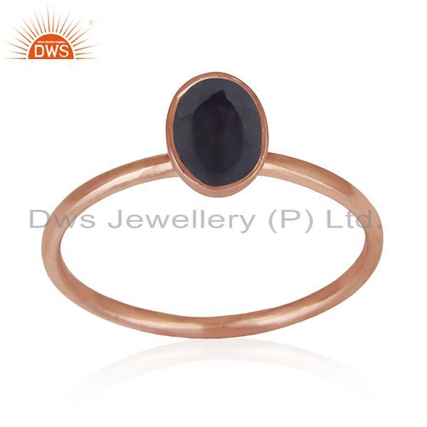Suppliers Iolite Gemstone Rose Gold Plated Handmade 925 Silver Wedding Ring Whlolesale
