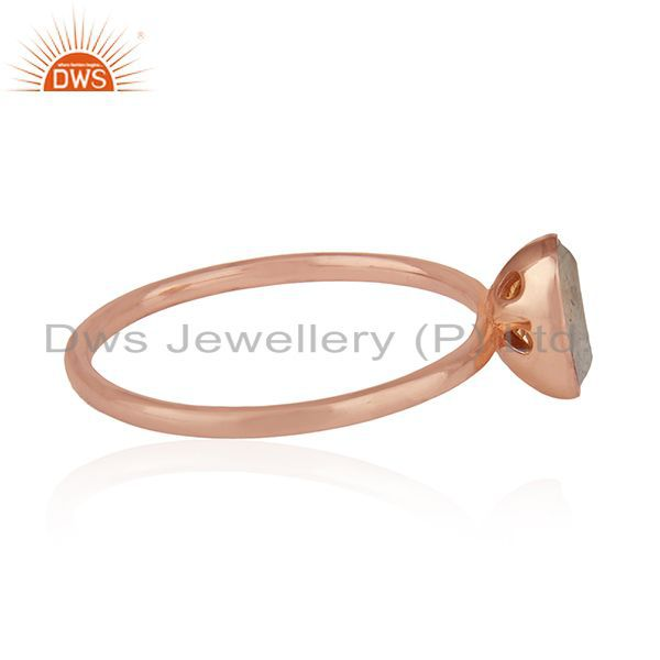 Suppliers Natural Labradorite Gemstone Rose Gold Plated 925 Silver Ring Manufacturers