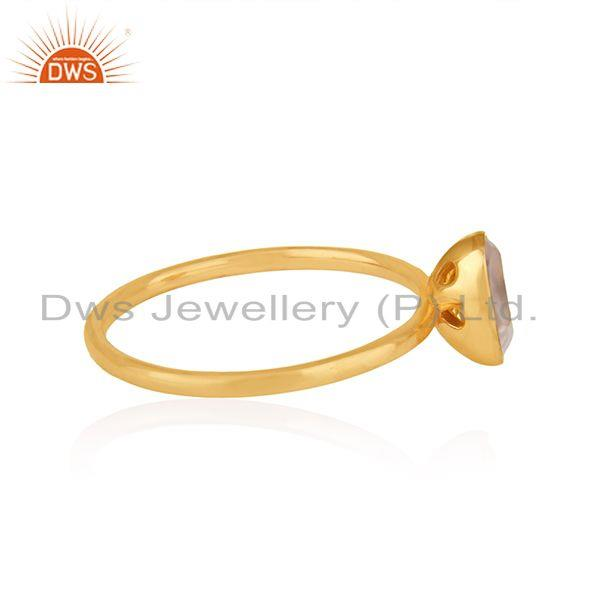 Suppliers Rose Quartz Gemstone 18k Gold Plated Silver Girls Ring Jewelry Supplier
