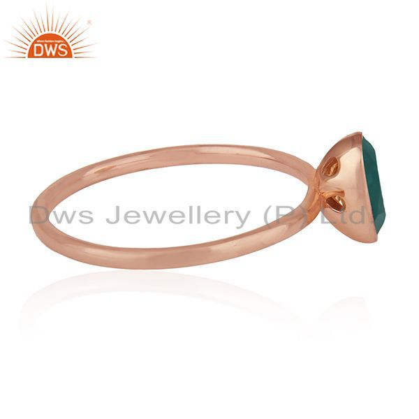 Suppliers Green Onyx Gemstone 925 Silver Rose Gold Plated Wedding Ring Manufacturers