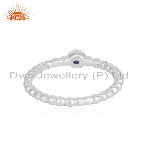 Suppliers Blue Sapphire Birthstone Fine Sterling Silver Handmade Ring Wholesale
