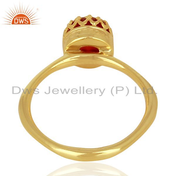 Suppliers Crown Designer Gold Plated Silver Carnelian Gemstone Womens Ring