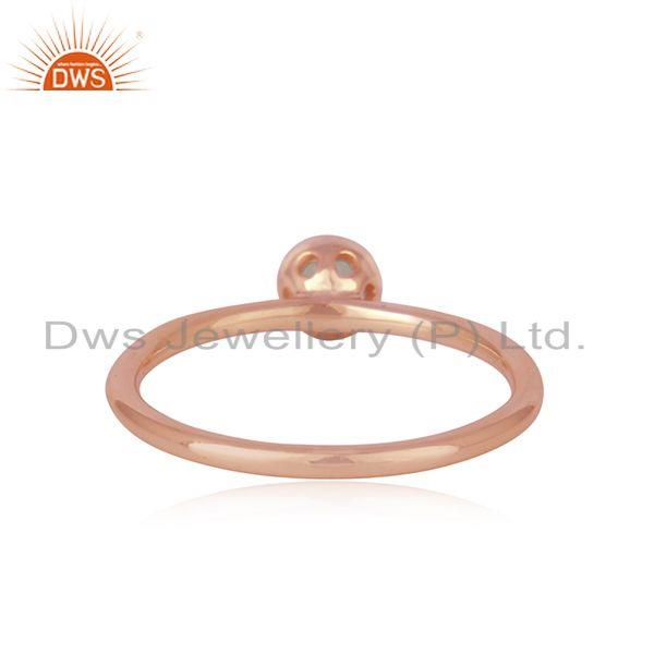 Suppliers Aqua Chalcedony Gemstone Rose Gold Plated 925 Silver Ring Wholesaler