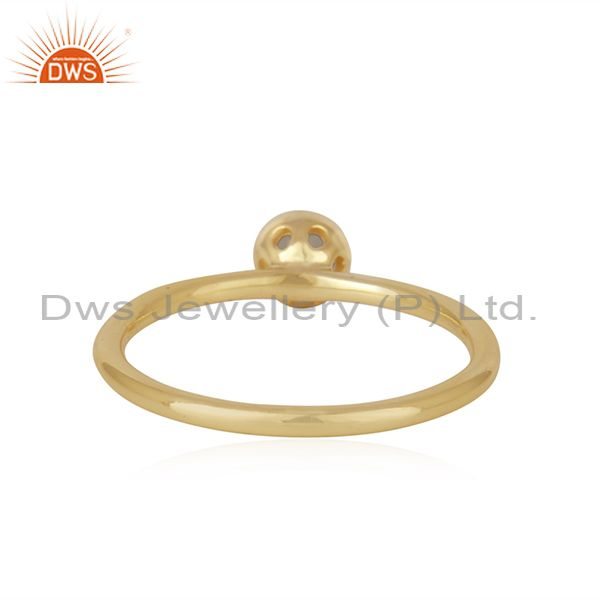 Suppliers Chalcedony Gemstone Gold Plated Sterling Silver Ring Manufacturer