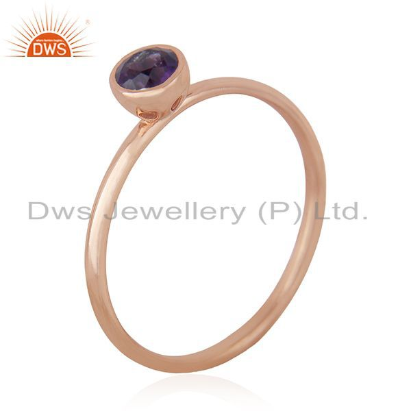 Suppliers Natural Amethyst Birthstone Rose Gold Plated 925 Silver Wedding Ring Suppliers