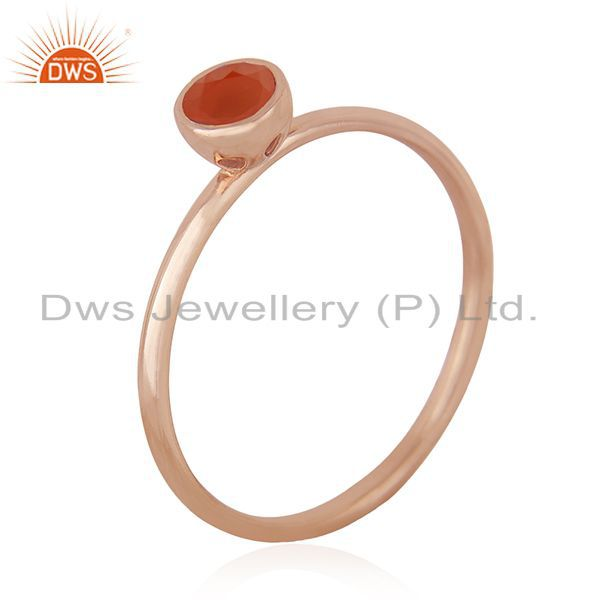 Suppliers Carnelian Gemstone 925 Silver Rose Gold Plated Wedding Ring Manufacturer