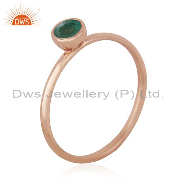 Suppliers Emerald Birthstone 925 Silver Rose Gold Plated Wedding Ring Manufacturer India