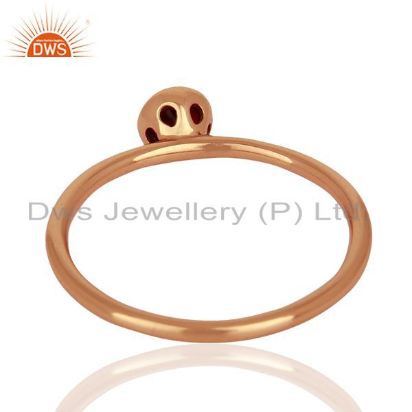 Suppliers Garnet 925 Sterling Silver Rose Gold Plated Stack Rings Gemstone Jewellery