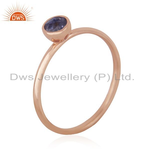 Suppliers Natural Iolite Gemstone 925 Silver Rose Gold Plated Wedding Ring Manufacturer