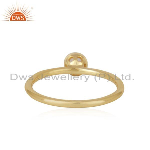 Suppliers Chaledony Gemstone Gold Plated Sterling Silver Ring Wholesaler