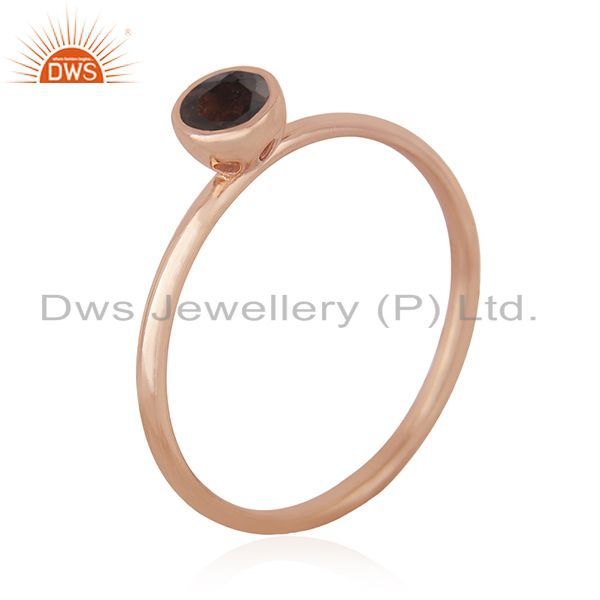Suppliers Smoky Quartz Gemstone Handmade Rose Gold Plated 925 Silver Wedding Ring Supplier