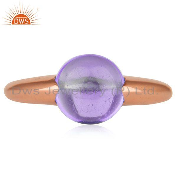 Suppliers Natural Amethyst Gemstone Rose Gold Plated 925 Silver Ring Jewelry