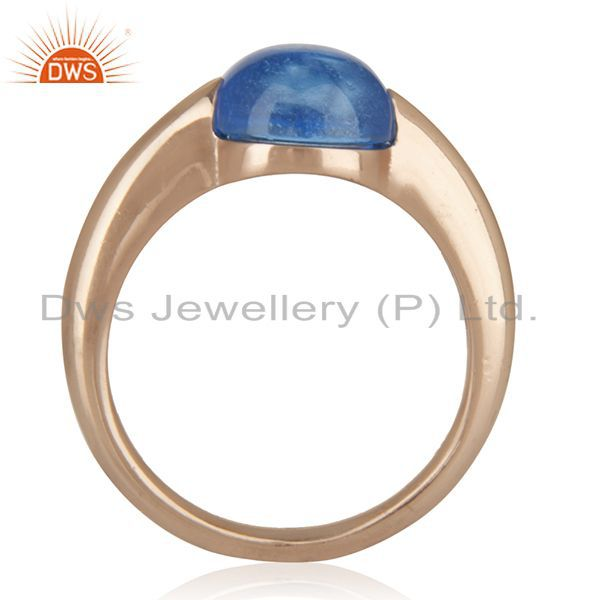 Suppliers Blue Topaz Eye of the Beholder Tension Sterling Silver Rose Gold Plated  Rings