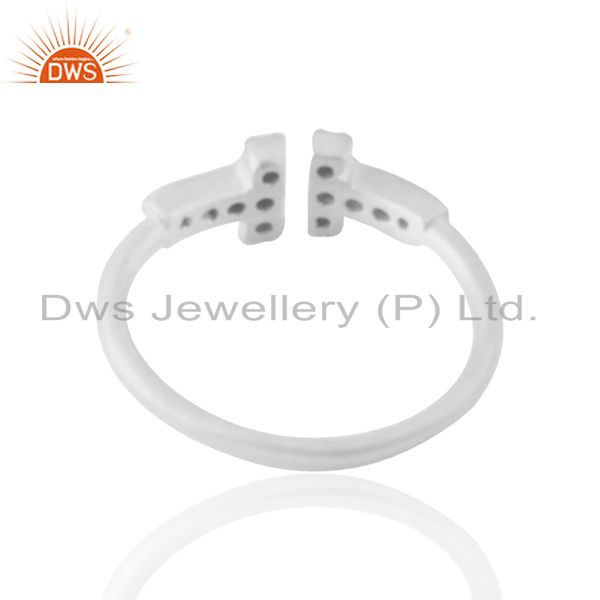 Suppliers White Zircon Double Cross Charm 925 Silver Ring Jewelry Manufacturers