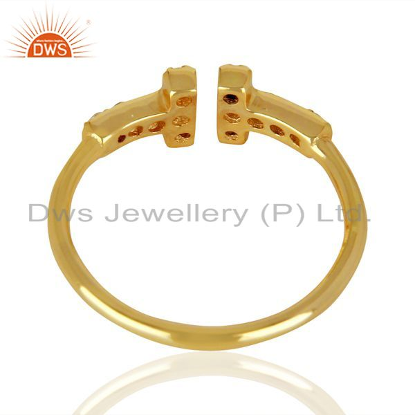 Suppliers Cz Double Cross Curved Bar 925 Sterling Silver 14K Gold Plated Ring Jewellery