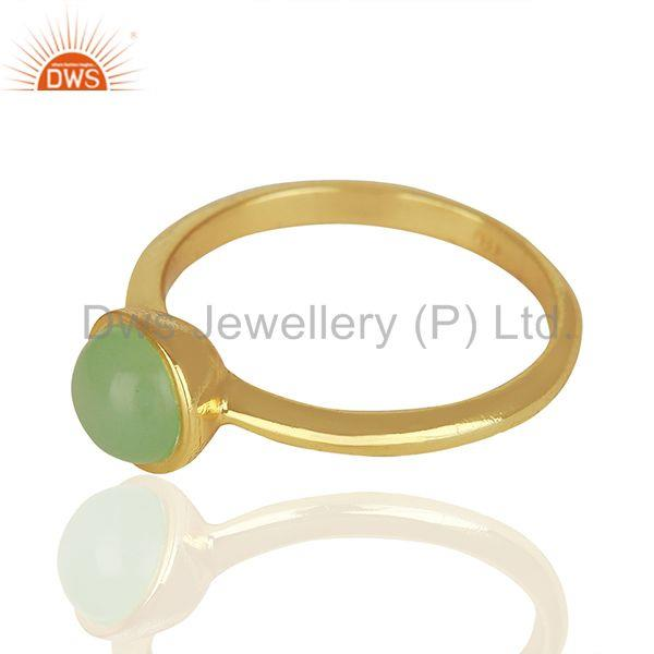 Suppliers Designer 925 Silver Gold Plated Aqua Chalcedony Gemstone Rings Jewelry