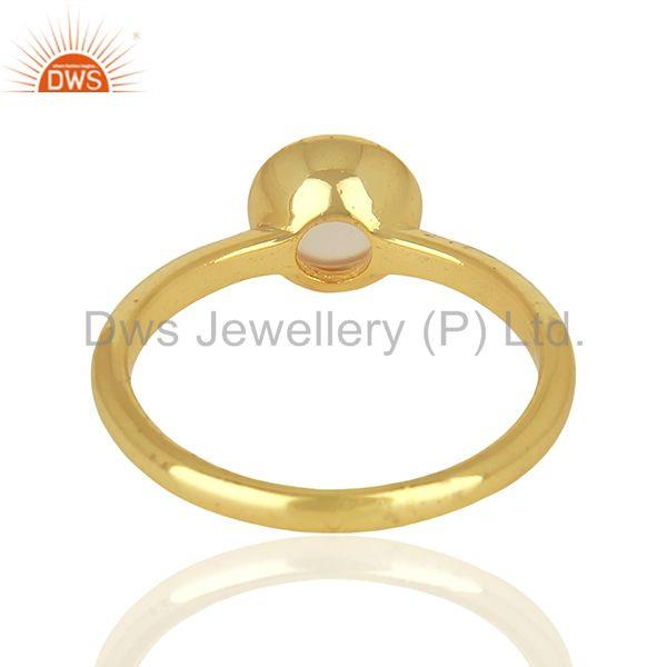 Suppliers Designer Rose Chalcedony Gemstone Yellow Gold Plated Silver Rings
