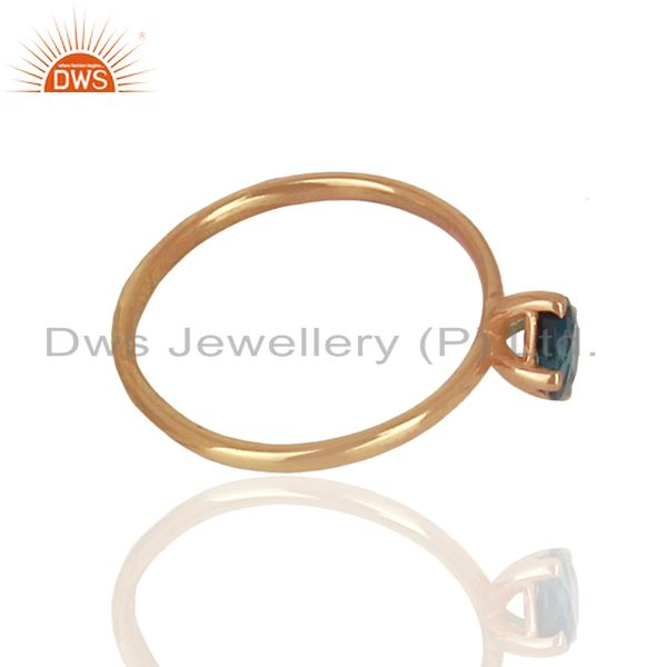 Suppliers London Blue Topaz Sterling Silver Rose Gold Plated  Rings Gemstone Jewellery