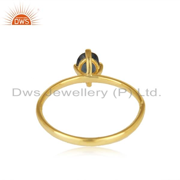 Suppliers Gold Plated Sterling Silver Iolite Gemstone Ring Manufacturer India