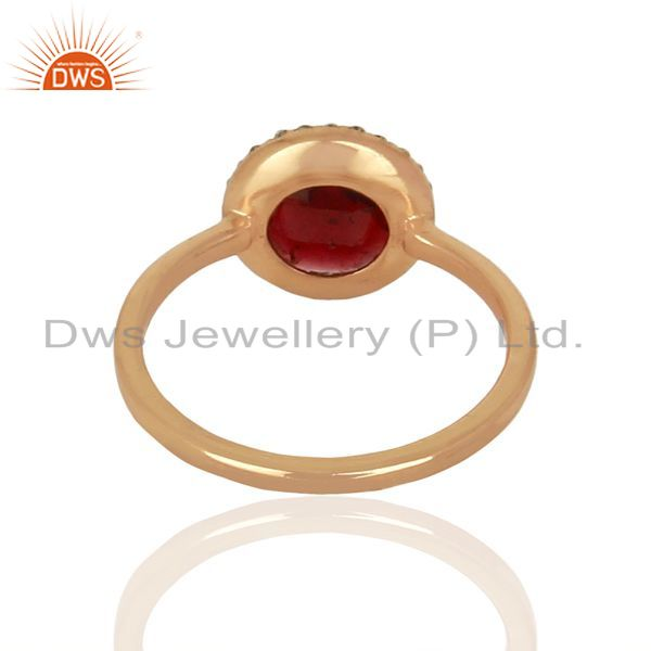 Suppliers Garnet With cz Sterling Silver Rose Gold Plated Stack Rings Gemstone Jewellery