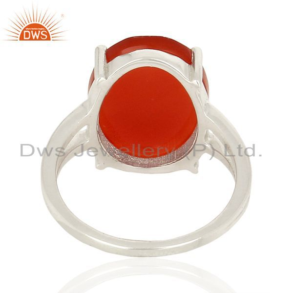 Suppliers Red Onyx Flat Stone Oval Shape 92.5 Sterling Silver Wholesale Silve Ring