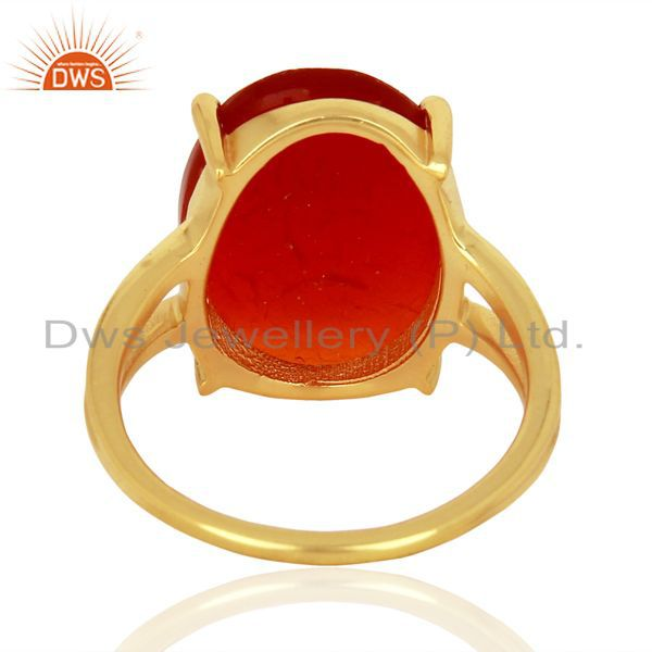 Suppliers Red Onyx Flat Stone Oval Shape 14 K Gold Plated Wholesale Silve Ring