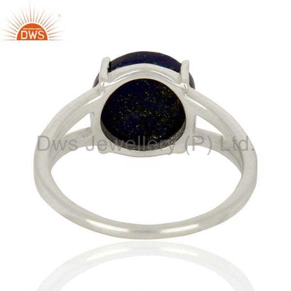 Suppliers Lapis Flat Stone Round Shape Designer 92.5 Stelring Silver Wholesale Ring
