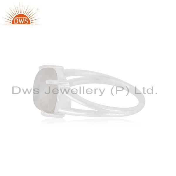 Suppliers Rainbow Moonstone Flat Stone Round Shape Designer Stelring Silver Wholesale Ring