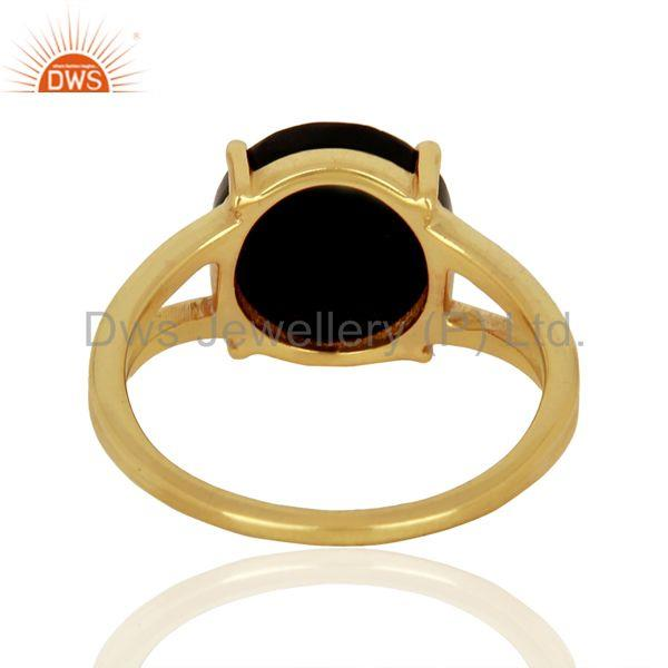 Suppliers Black Onyx Flat Stone Round Shape 14 K Gold Plated Wholesale Silve Ring