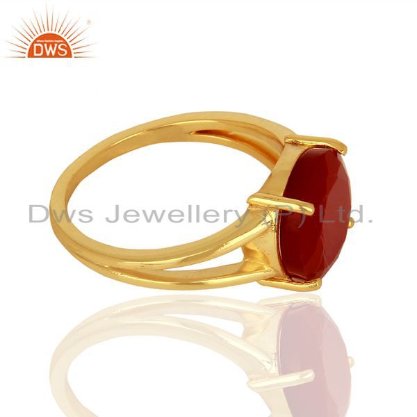 Suppliers Red Onyx Flat Stone Round Shape 14 K Gold Plated Wholesale Silve Ring