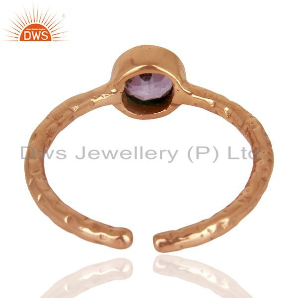 Suppliers Amethyst Adjustable Rose Gold Plated Wholesale Sterling Silver Ring