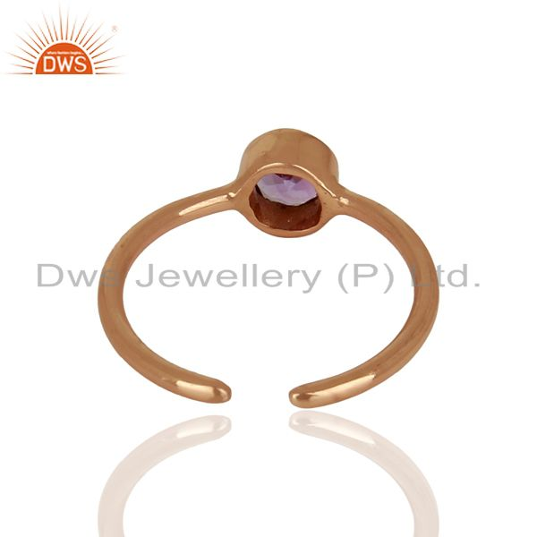 Suppliers Rose Gold Plated Natural Amethyst Gemstone Ring Jewelry Wholesale