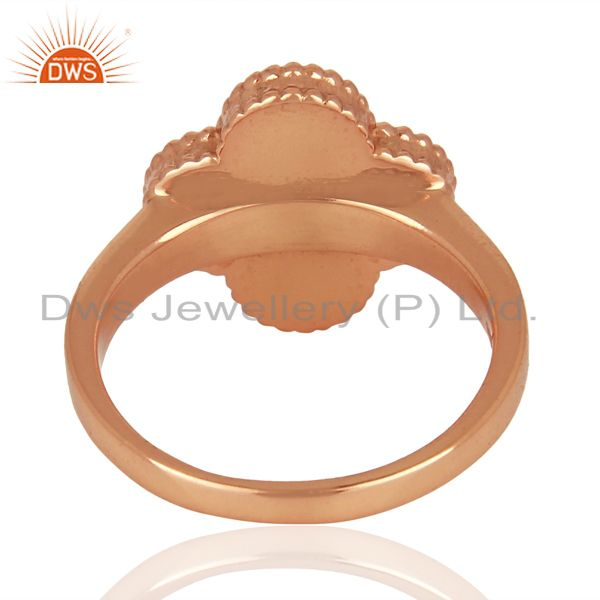 Suppliers Mother Of Pearl Clover The Magic Motif Sterling Silver Rose Gold Plated Ring