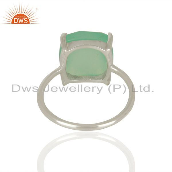 Suppliers 925 Sterling Fine Silver Aqua Chalcedony Gemstone Rings Manufacturer