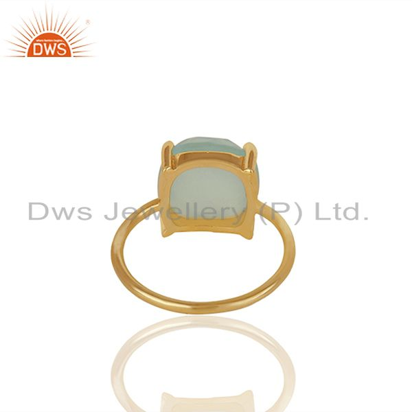 Suppliers Aqua Chalcedony Gemstone 925 Solid Silver Stackable Rings Wholesale