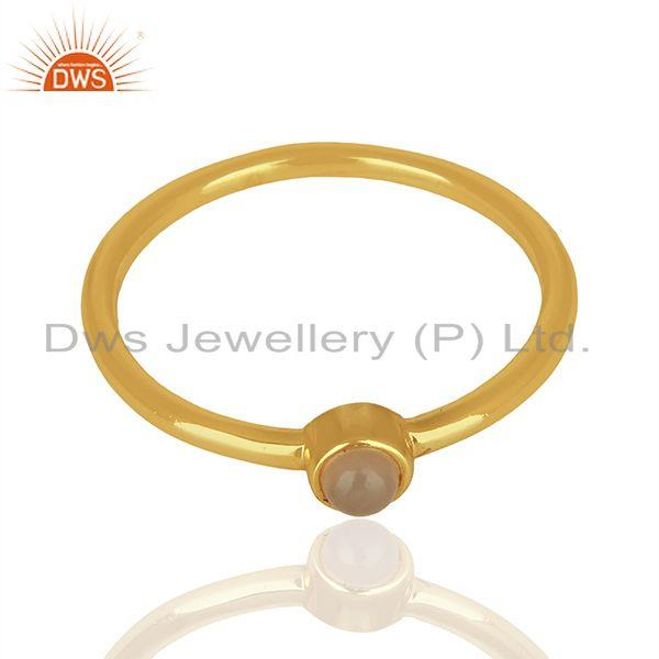 Suppliers Rose Chalcedony Gemstone Gold Plated 925 sterling Silver Ring Jewelry