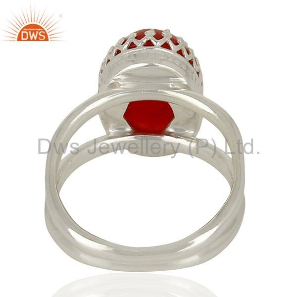 Designers Sterling Fine Silver Crown Design Wedding Ring Carnelian Gemstone Ring