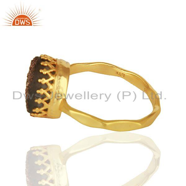 Suppliers Copper Druzy Gemstone Gold Plated Sterling Silver Ring Manufacturer