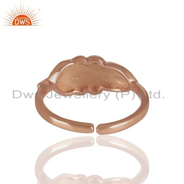 Suppliers Handcrafted Leaf Design Rose Gold Plated 925 Silver Rings Manufacturer