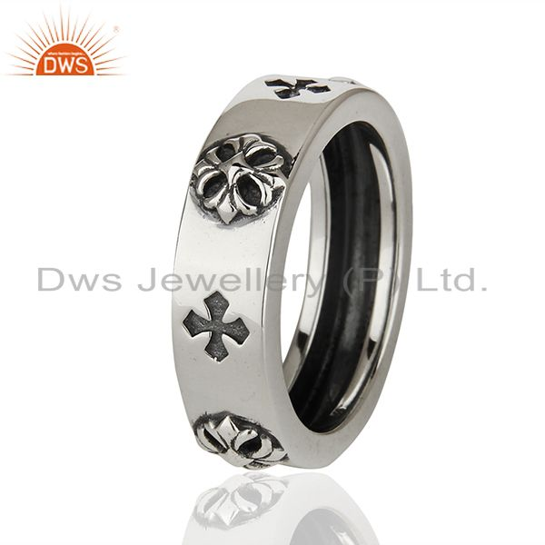 Suppliers Solid 925 Sterling Silver Lucky Charm Mens Band Ring Manufacturer